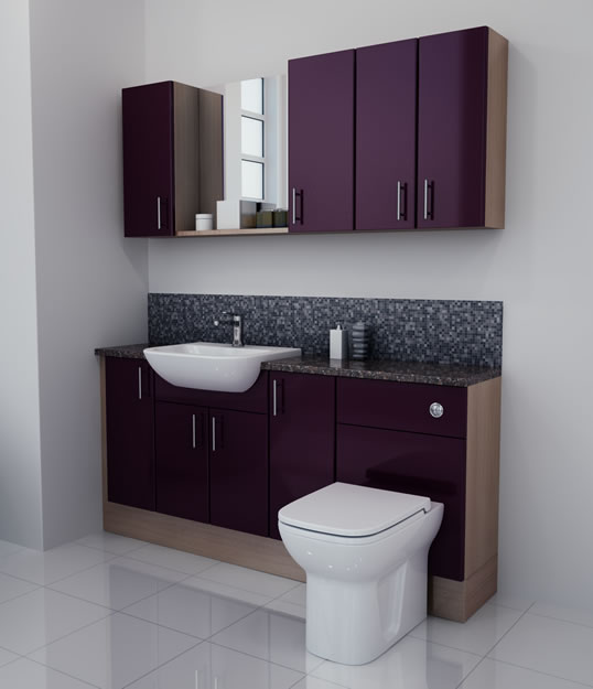 1700mm Aubergine Gloss Furniture Run with Oak Carcase