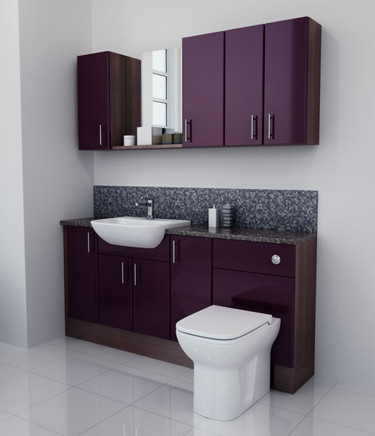 1700mm Aubergine Gloss Furniture Run with Walnut Carcase
