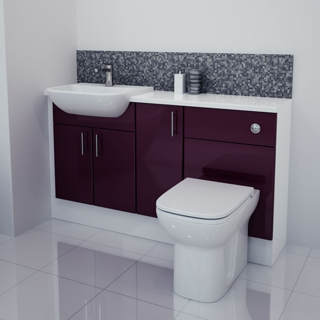 1400mm Aubergine Gloss Furniture Run with White Carcase