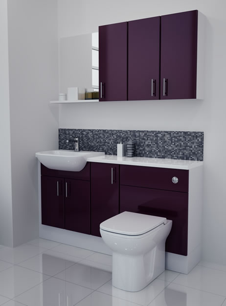 1500mm Aubergine Gloss Furniture Run with White Carcase