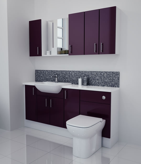 1700mm Aubergine Gloss Furniture Run with White Carcase