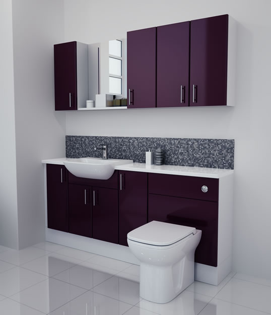 1800mm Aubergine Gloss Furniture Run with White Carcase