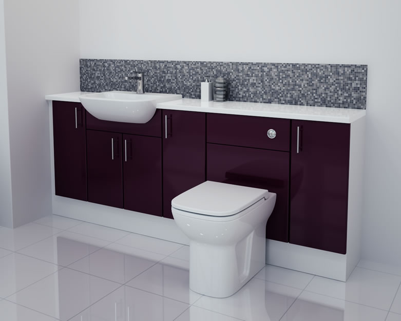 2000mm Aubergine Gloss Furniture Run with White Carcase