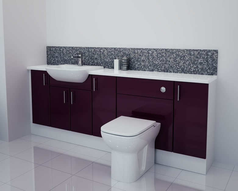 2100mm Aubergine Gloss Furniture Run with White Carcase