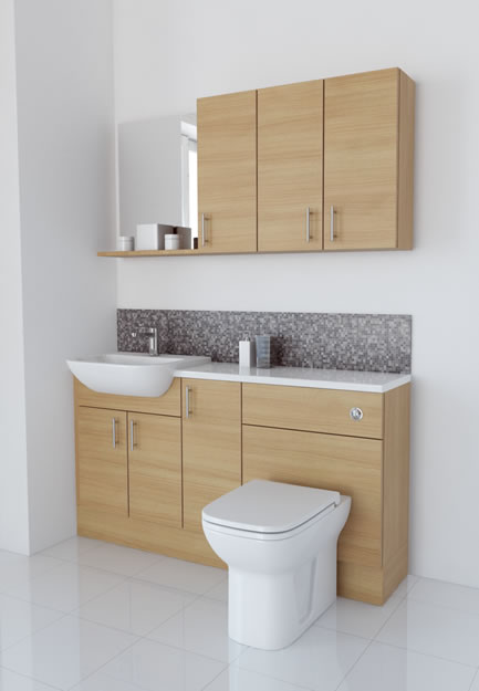 1500mm White Avola with Wall Units