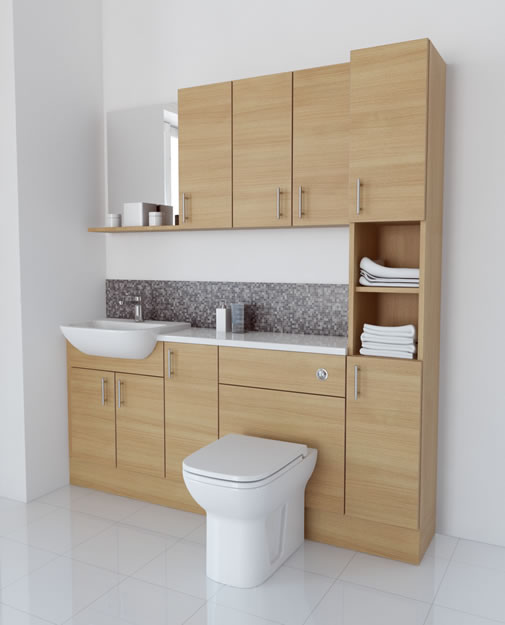 1800mm White Avola with Wall Units and Tallboy