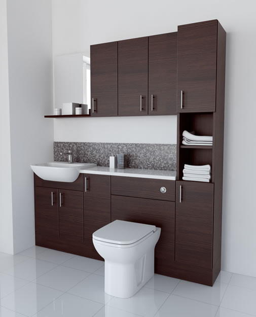 1800mm Mocha with Wall Units and Tallboy