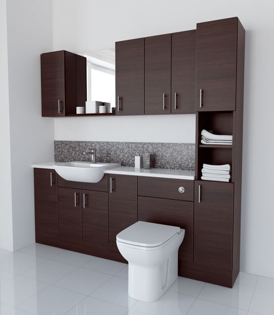 2000mm Mocha with Wall Units and Tallboy