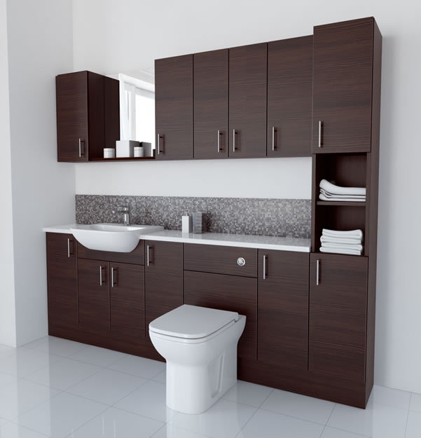 2300mm Mocha with Wall Units and Tallboy
