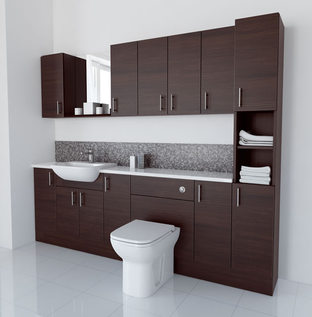 2400mm Mocha with Wall Units and Tallboy