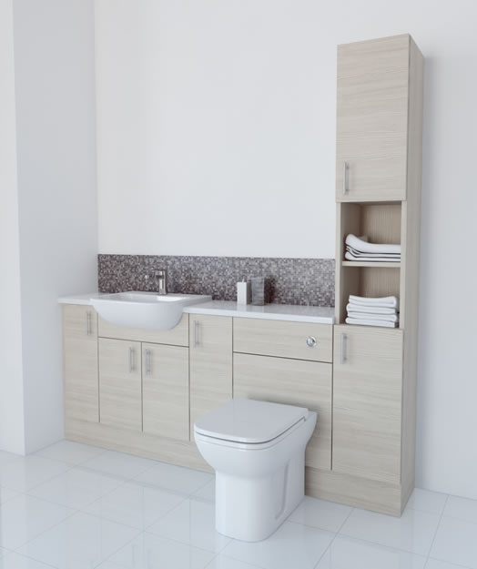 1900mm White Avola Furniture Run with Tallboy