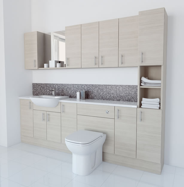 2400mm White Avola Furniture Run with Tallboy